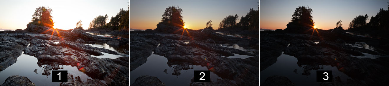 HDR Tutorial showing 3 bracketed exposures