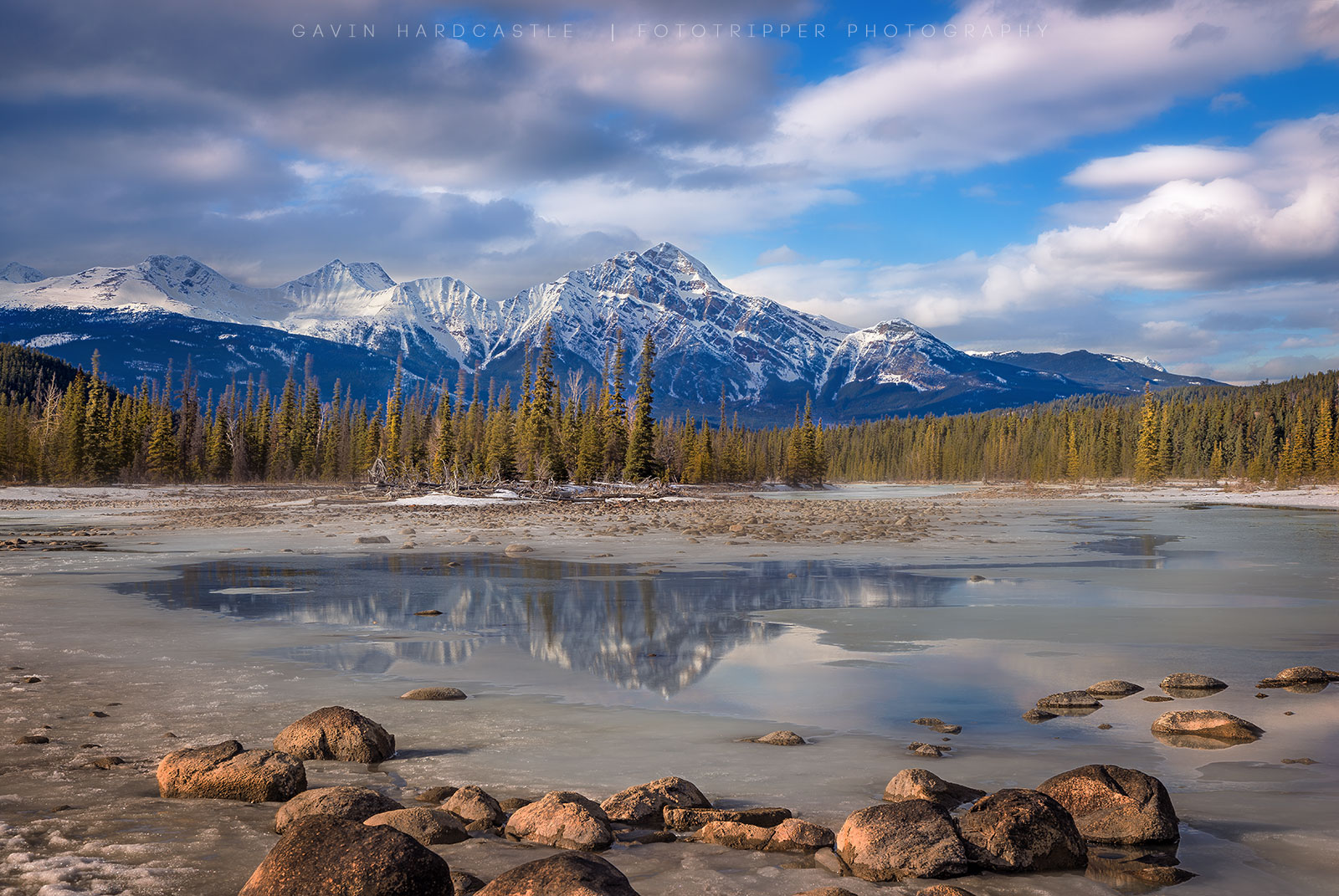 Pyramid Mountain and the Athabasca River in Jasper National Park