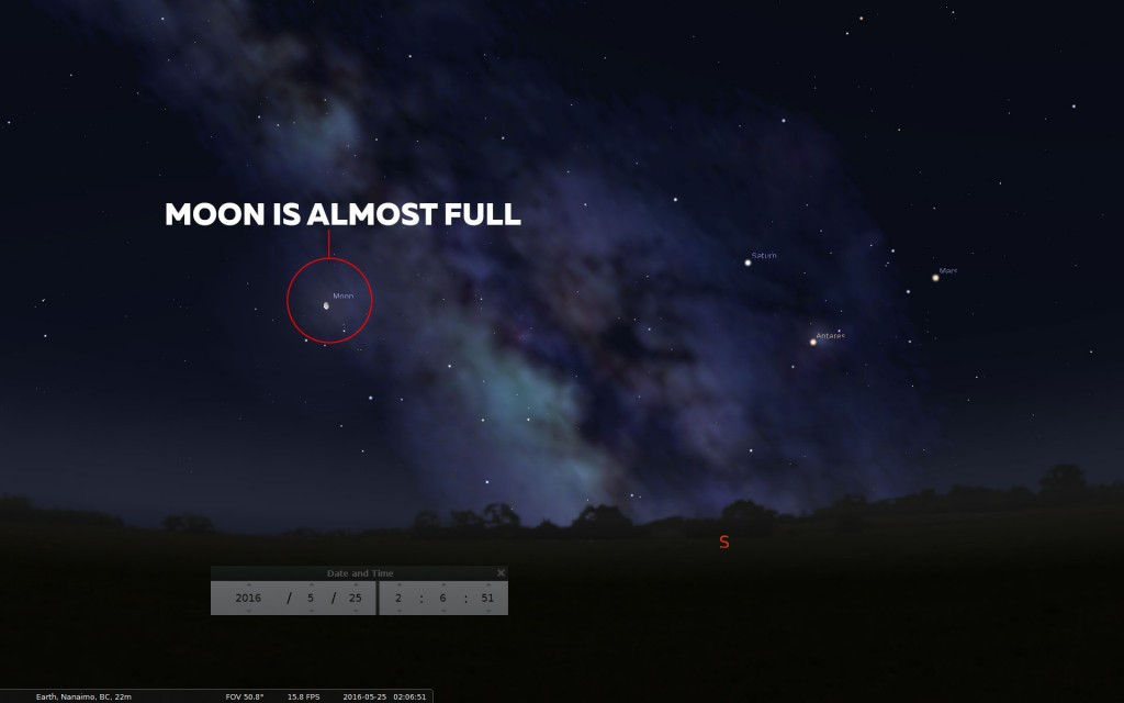Stellarium Almost Full Moon
