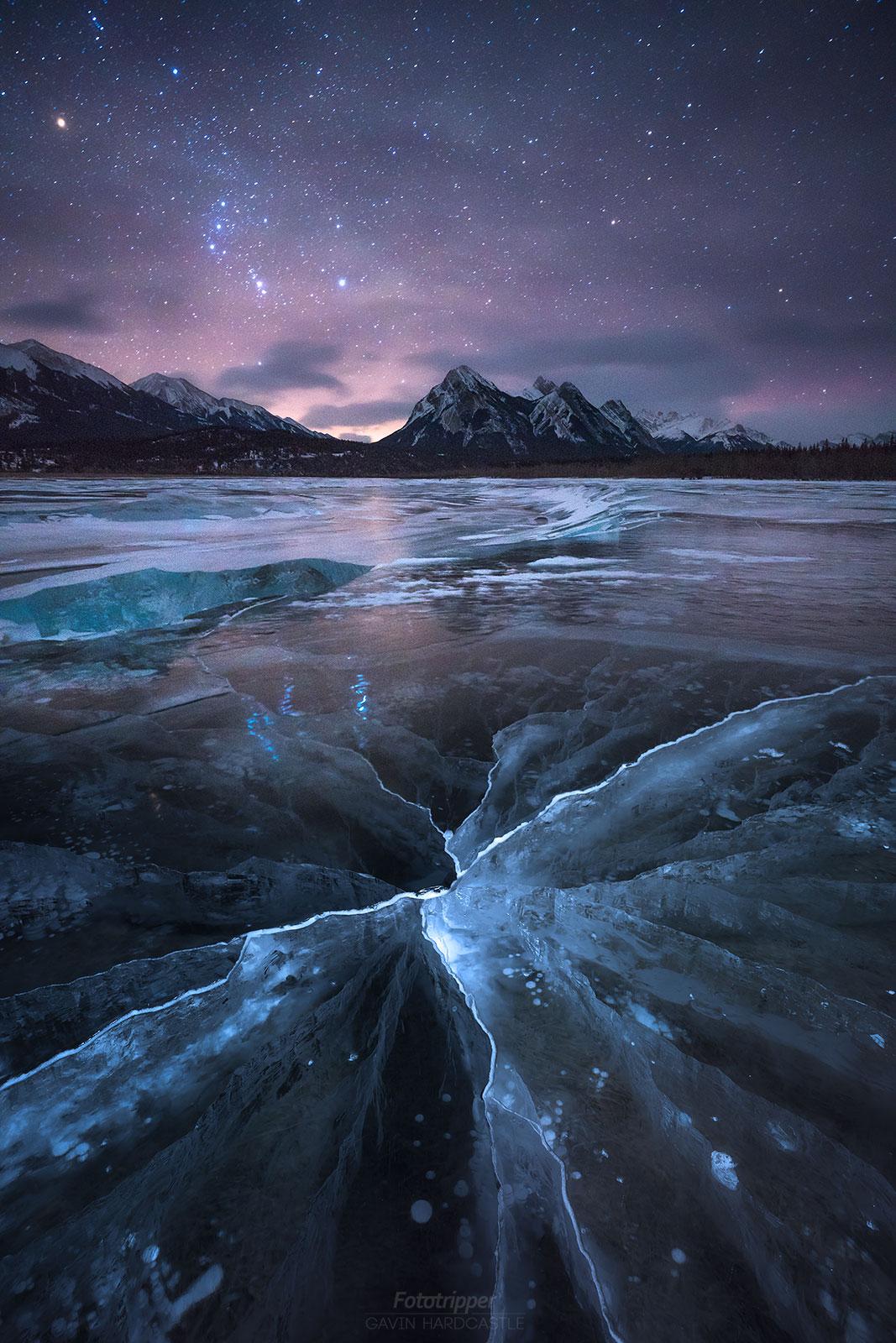 Abraham Lake Ice Cracks - 'Hairline Fracture' by Gavin Hardcastle
