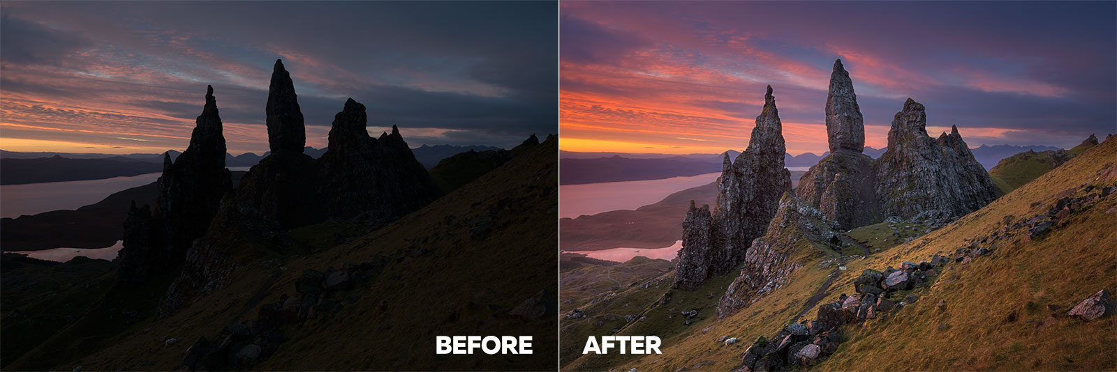 Before and After - Image post processing webinar for sunrise